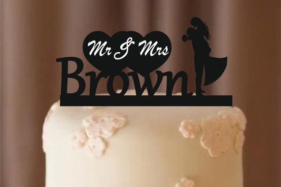 Hochzeit - personalized wedding cake topper - silhouette wedding cake topper , monogram cake topper - rustic cake topper - bride and groom cake topper,