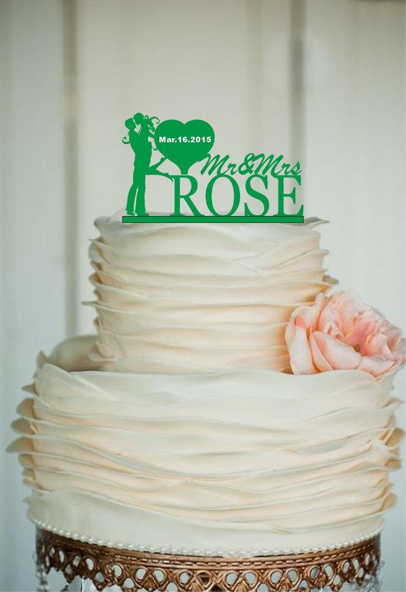 Wedding - Custom Wedding Cake Topper -Personalized wedding Cake Topper - Monogram Cake Topper - Mr and Mrs, Bride and Groom - rustic cake topper