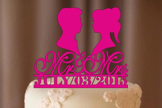 زفاف - silhouette wedding cake topper - personalize wedding cake topper - bride and groom - cake topper , monogram cake topper - rustic cake topper