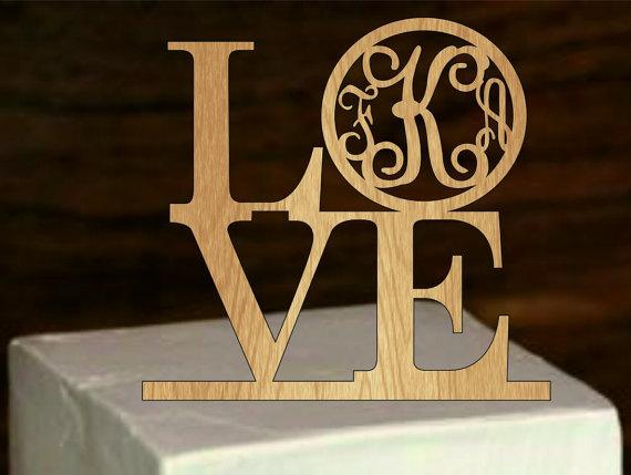 Wedding - monogram cake topper, personalized wedding cake topper, love silhouette cake topper, rustic wedding cake topper, custom cake topper