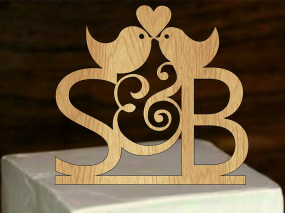 Свадьба - personalized wedding cake topper - silhouette wedding cake topper - rustic wedding cake topper - monogram cake topper - bride and groom