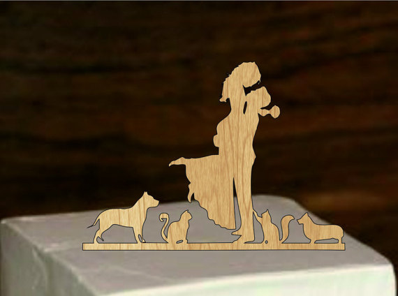 Mariage - wedding Silhouette Cake Topper, Pet Silhouette, Wedding Cake Topper, dog and cat Bride Groom Cake Topper, rustic wedding cake topper