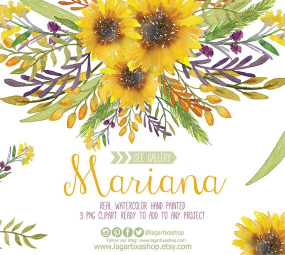 Sunflower wedding. Watercolor clipart floral frame