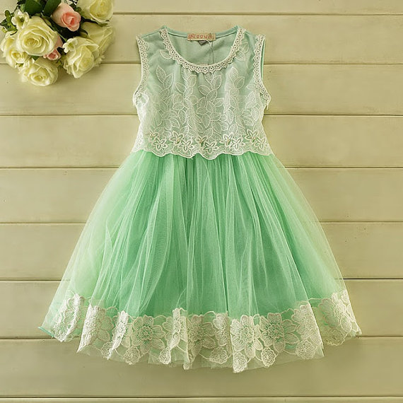 Mint Green Tulle Lace Girl Dress - Flower Girl Wedding Dress ...