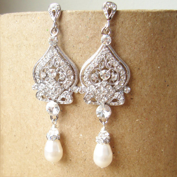 Rhinestone Chandelier Bridal Earrings Vintage Style Pearl Wedding Bridal Earrings Pearl Drops