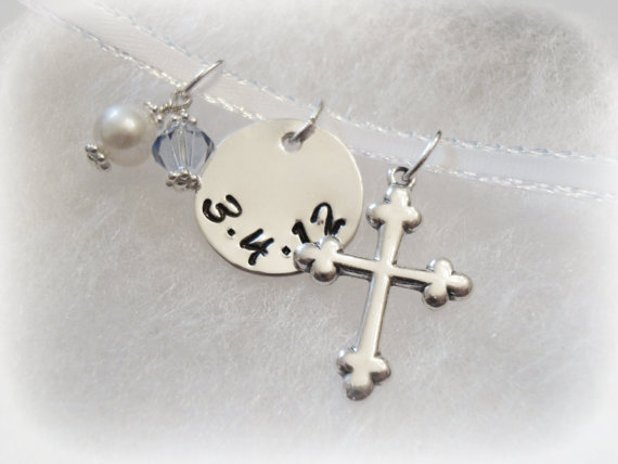Mariage - Bridal Bouquet Sterling Silver Charm Wedding Keepsake with Cross and Swarovski Crystals