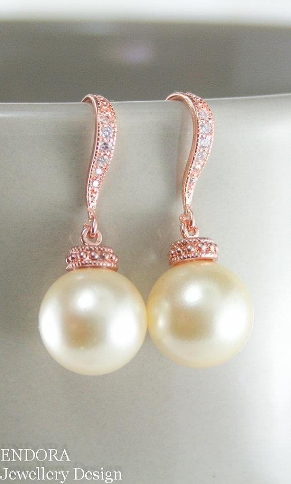 Mariage - Wedding pearl earrings,rose gold earrings,big pearl earrings,vintage pearl earrings,bridal earrings,bridesmaid earrings,12mm pearl earrings
