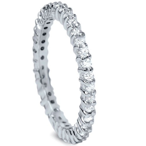 Mariage - 3/4CT Diamond Eternity Ring Stackable Band Wedding Anniversary Common Prong Style 14K White Gold Size 4-9