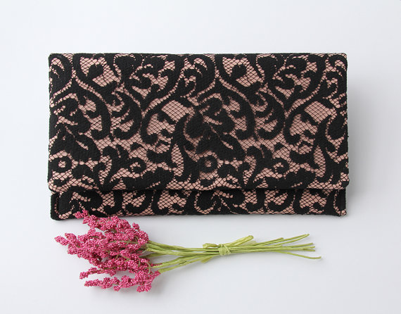 Mariage - Pink and Black Clutch, Pink Linen Clutch, Black Lace Clutch, Lace Wedding Clutch, Bridesmaid Clutch, Vegan Clutch, Old World Style