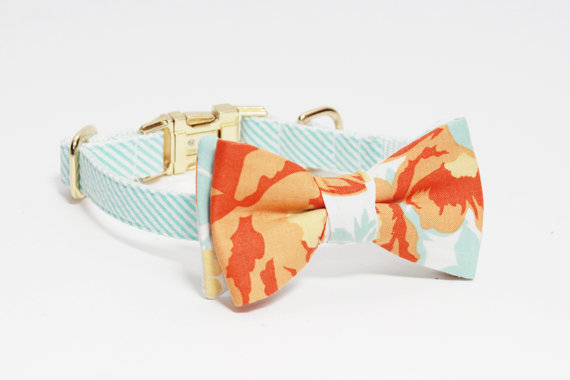 Свадьба - Adjustable Mint Seersucker Dog Collar with Floral Bow- Girl Dog Collar- Mint and Orange Dog Collar with Gold Tone Hardware