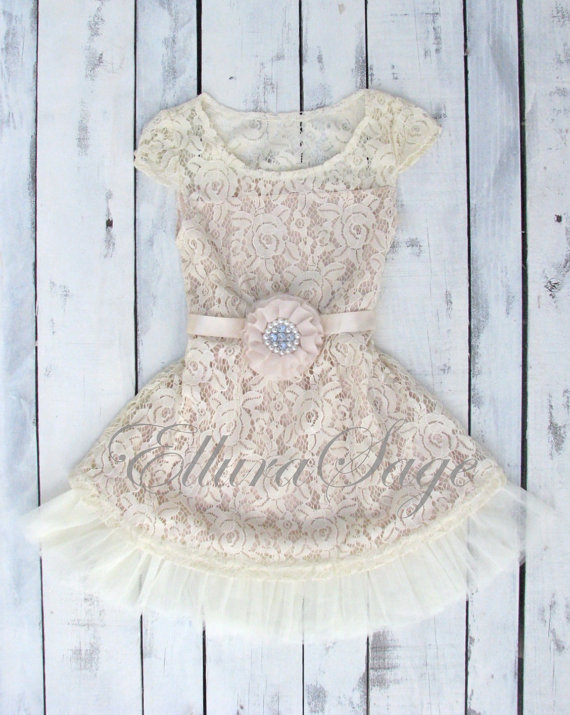 زفاف - Lace rustic flower girl dress, champagne lace dresses, flower girl dress  country chic flower girl dress, rustic wedding dress, lace dress