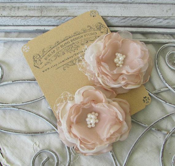 Hochzeit - Wedding Hair Flower Pearls Set of two
