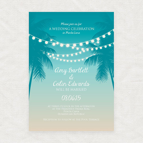 Tropical Printable Wedding Invitation Digital File Beach Fairy