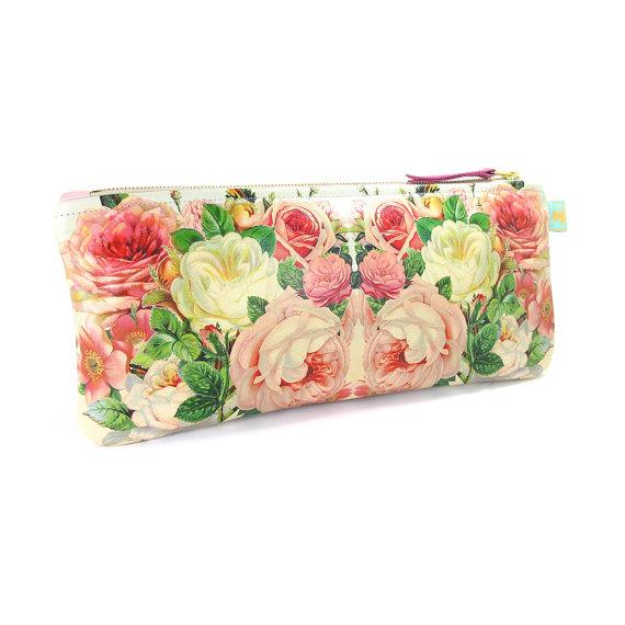 Mariage - Leather Clutch Bag, Leather purse, Wedding purse, Wedding Clutch, Bridesmaid clutch, Evening Bag - Rose Celebration
