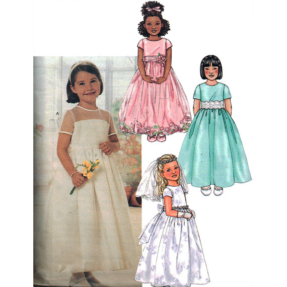 Mariage - Butterick Sewing Pattern 3702 Girl's Dress and Veil