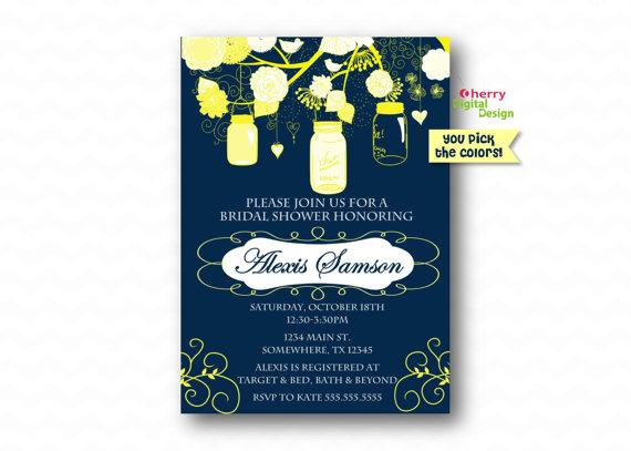 Mason jar printable custom bridal shower invitation yellow and navy mason jar printable custom bridal shower invitation yellow and navy fancy custom wedding shower inivte fancy bridal shower pdf invite filmwisefo
