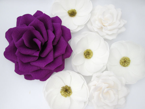 7 large paper flowerslarge paper roseswedding decorationarch 7 large paper flowerslarge paper roseswedding decorationarch flowers table flower decoration purple and white flowers mightylinksfo Images