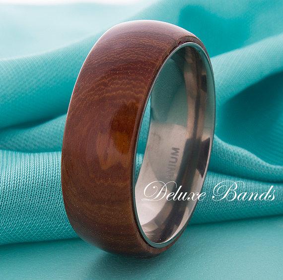 Свадьба - Wood Titanium Wedding Band,Wood InlayTitanium,8mm,Mens Titanium Ring,Domed,Titanium Anniversary Ring,HandmadeTitanium Band,Custom Engraving