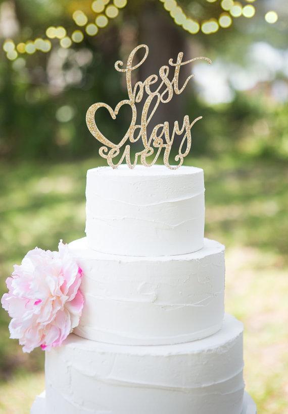 زفاف - Wedding Cake Topper Best Day Ever Floating Topper Glitter Wedding Engagement Shower Cake Topper (Item - BDE900)