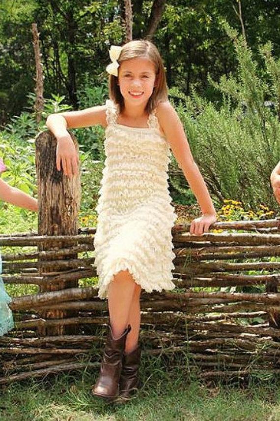 Wedding - Ivory Lace Flower Girl Dress Rustic Country Flower Girl Dress Cream Jr Bridesmaids PettiDress Vintage Flower Girl Dress Shabby Chic Wedding