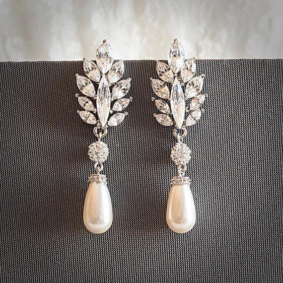 Mariage - Vintage Style Swarovski Teardrop Pearl Drop Dangle Bridal Earrings, Crystal Leaf Wedding Earrings, Rhinestone Bridal Jewelry, SANDRINE