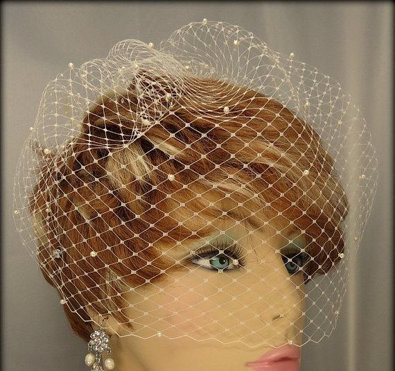 Свадьба - Wedding Birdcage Veil, Pearl Accent Veil, 12 Inch Veil, Birdcage Veil