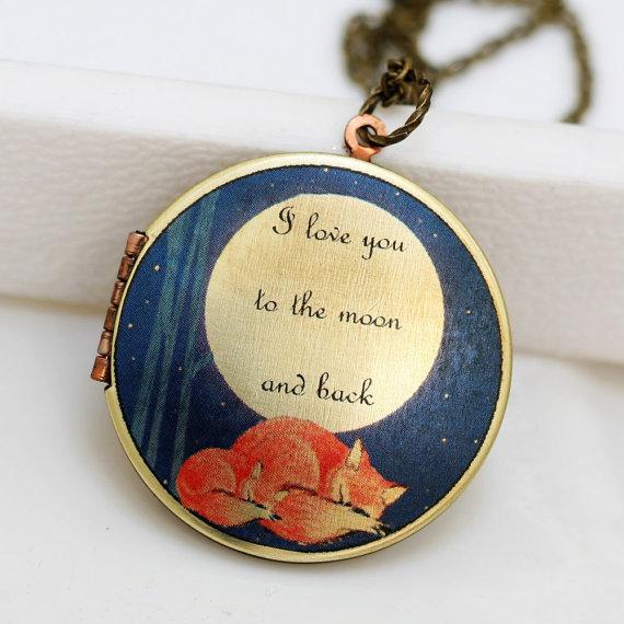 Свадьба - Locket Necklace,Sleepy Fox, Fox,Sleep,Jewelry,Necklace,Pendant,Red,Mom,Baby,Antiqued Locket, 32mm,I love you to the moon and back, Round Loc