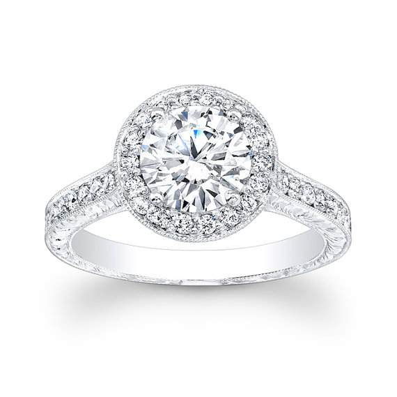 Свадьба - 18kt white gold antique engagement ring with 0.50 carats G-VS2 quality and 1.50ct natural round white sapphire center