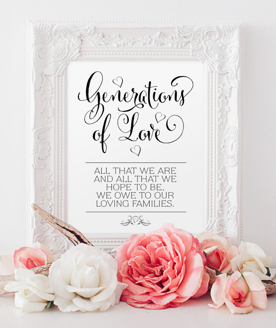 "زفاف - Generations of Love Sign - 8 x 10 sign - DIY Printable sign in ""Bella"" black - PDF and JPG files - Instant Download"