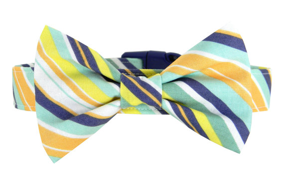 زفاف - Navy Yellow Mint Stripe Bow Tie Dog Collar/ Wedding Dog Bow Tie Collar: Prep Tie