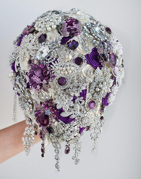 Purple And Silver Wedding Brooch Bouquet Jeweled