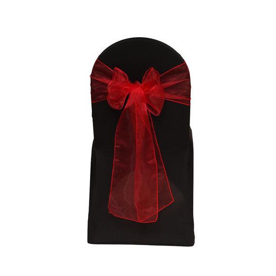 Hochzeit - Red Organza Chair Sash