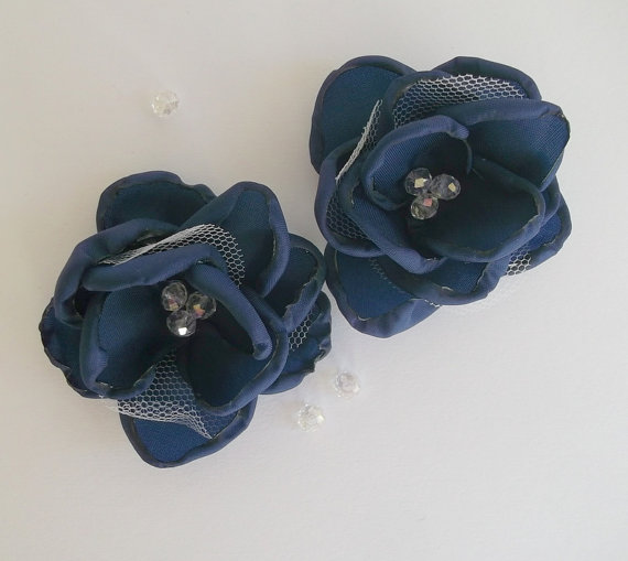Свадьба - Navy Blue fabric flowers in handmade, Bridal dress hair shoes accessory, Clip Pin Brooch Bridesmaids gift Navy Blue Weddings, Something Blue