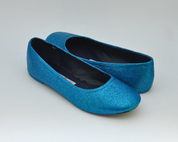Mariage - Ready 2 Ship Size 8 Glitter Custom Peacock Blue Ballet Flats Slippers Shoes