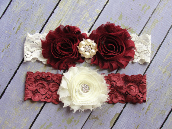 Mariage - SALE 100+ Colors, Wedding Garter Belt, Garter Wedding, Deep Red Garters, Burgundy Garter, Red Garter, Custom Garter, Garter Sets