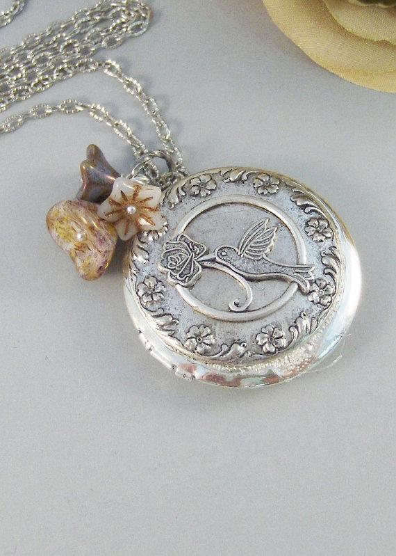Mariage - Hummingbird,Locket,Silver Locket,Flower,Bird,Purple,Ivory,Antique Locket,Floral,Jewelry. Handmade jewelry by valleygirldesigns.