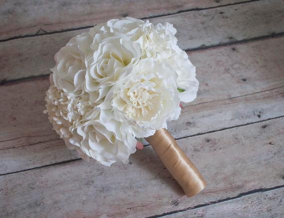 Свадьба - Wedding Bouquet Ivory Peony Rose Hydrangea Silk Wedding Bouquet