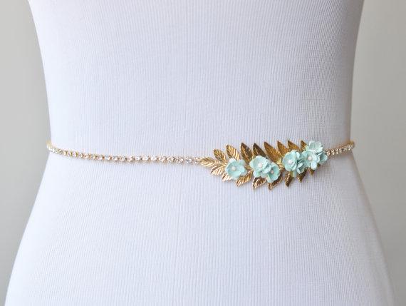 Свадьба - Flower Bridal Sash, Gold Wedding Sash with Mint Flowers and Crystals, Leaf Sash, Thin Wedding Sash with Blue Flowers, Floral Bridal Belt