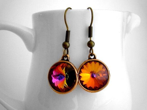 Свадьба - Volcano Rivoli Swarovski Crystal Earrings, Handmade Copper Earrings, Fall Wedding Jewelry, Orange and Pink, Fall Earrings, Autumn Earring