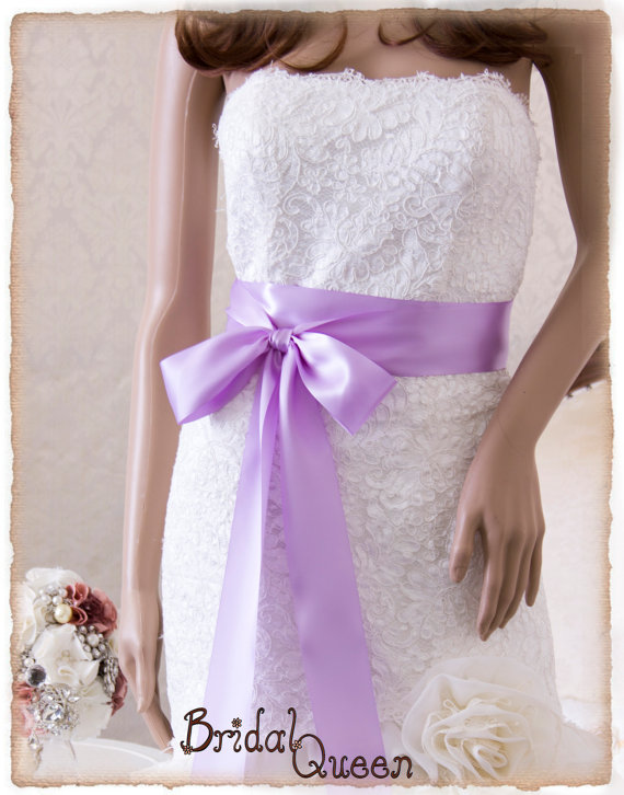 Свадьба - Bridal Sash ORCHID, Satin Ribbon Sash, Wedding Sash, Bridesmaids Sash, Bridal Belt, Satin Bridal Sash