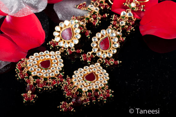 Red Chandelier Earrings Kundan Wedding Jewellery Bridal Jewelry Indian By Taneesi