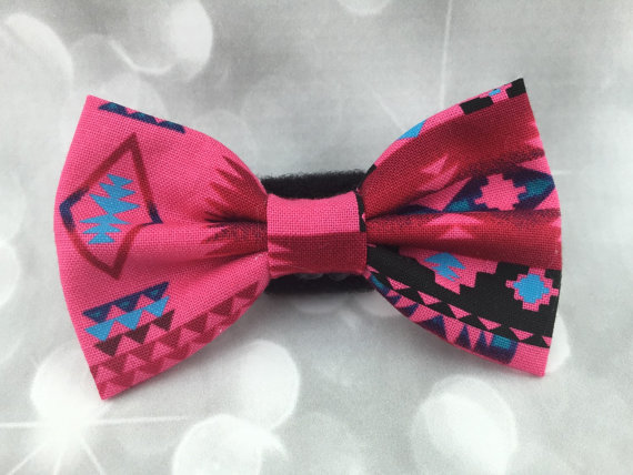 Свадьба - Pink Aztec Small Pet Dog Cat Bow / Bow Tie