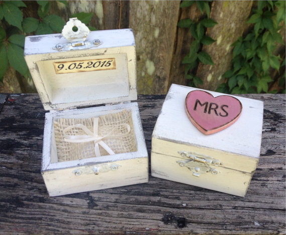 Hochzeit - Ring Bearer Boxes You Pick Your Color Romantic Antique Vintage Inspired Cottage Chic  Alternative Ring Pillow