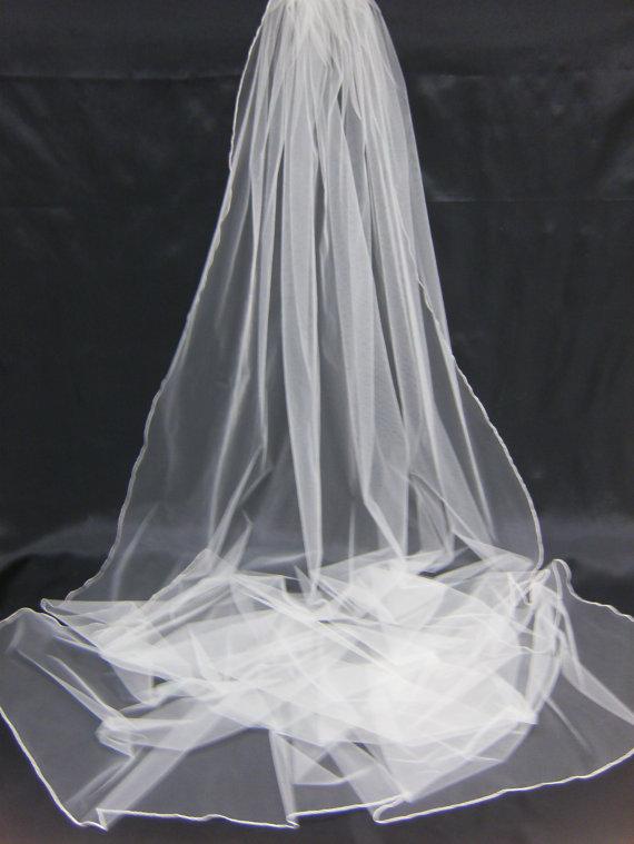 Hochzeit - Silk Pencil Edge Trim 108 Inch Long Cathedral Length Sheer Veil