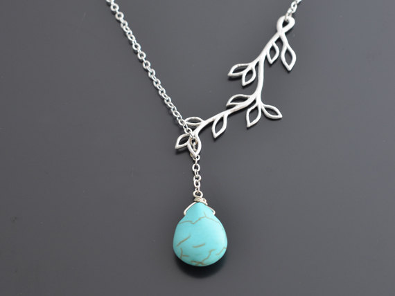 Свадьба - SALE, Multi leaf branch, Turquoise, Lariat, Silver necklace, Bridal, Wedding, Anniversary, Mothers day, Christmas Necklace, Gift, Vintage.