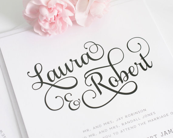 Sweet Wedding Invitation Script Style Monogram Sweet Romance