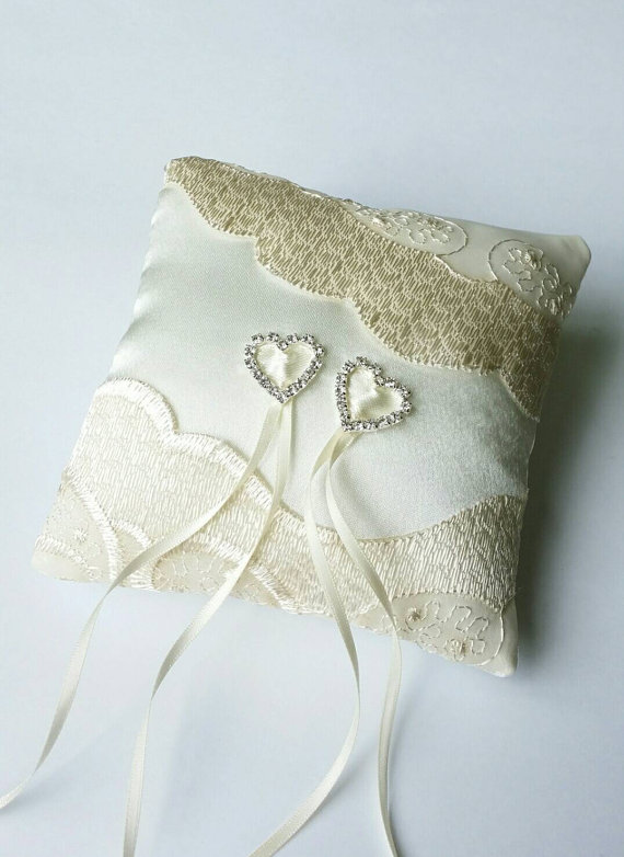 Wedding - Ivory ring pillow Wedding ring pillow Pillow with hearts Wedding accessory