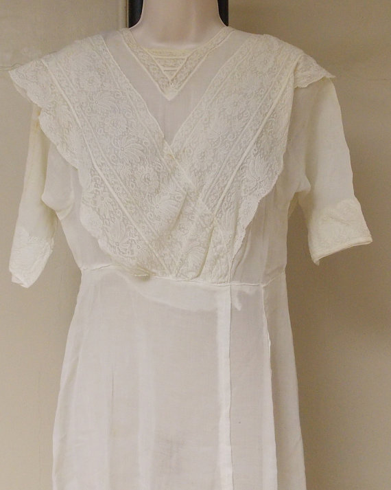 Hochzeit - Antique Edwardian sheer linen wedding dress with attached flat panel train