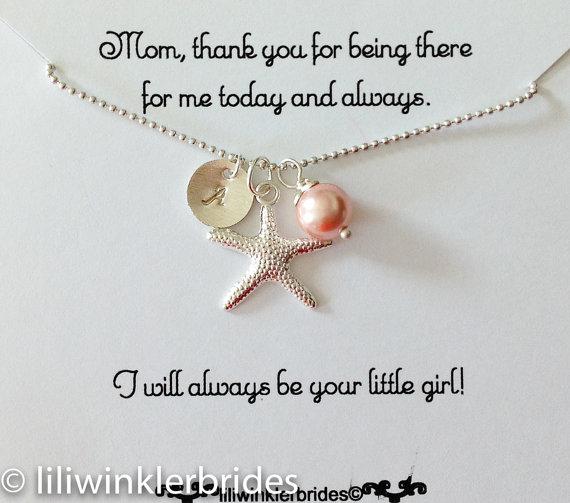 زفاف - Mother of the Bride Necklace, Starfish Necklace, Beach Wedding, Cluster Necklace, Birthstone Silver Personalized Jewelry, Nautical Weddings