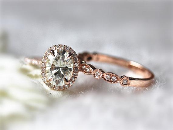 Engagement Ring Set 6x8mm Oval Forever Brilliant Moissanite ...